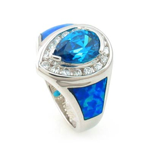 Beautiful Opal with Blue Topaz Silver Ring