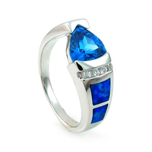 Blue Australian Opal Ring with Blue Topaz and CZ