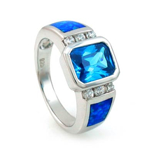 Blue Australian Opal Silver Ring with Blue Topaz