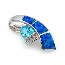 Australian Opal Pendant with Blue Topaz
