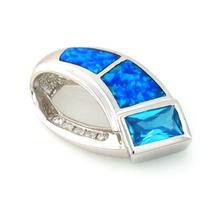 Emerald Cut Blue Topaz with Australian Opal Silver Pendant