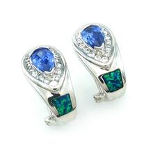 Gorgeous Tanzanite with Australian Opal .925 Silver Earrings