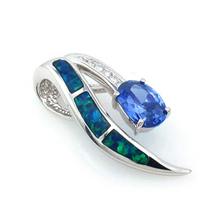 Oval Cut Tanzanite and Australian Opal Pendant in Sterling Silver