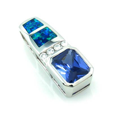 Princess Cut Tanzanite and Australian Opal Fashion Pendant in Sterling Silver
