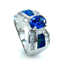 Hermoso Anillo de Opalo Azul y Tanzanita