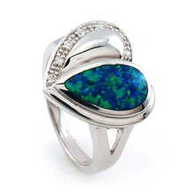 Blue and Green Australian Opal Silver Ring