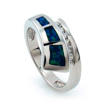 Blue and Green Opal Silver Ring