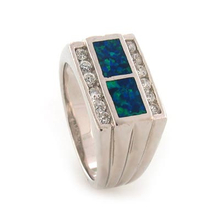 Australian Opal with Zirconia Unisex Silver Ring