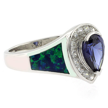 Elegant Opal and Tanzanite Ring