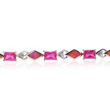 Emerald Cut Pink Sapphire Pink and Australian Opal Fashion Silver Bracelet