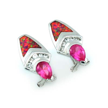 Beautiful Pink Sapphire and Pink Opal Silver Earrings