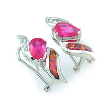 Pear Cut Pink Sapphire and Pink Opal Silver Earrings