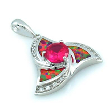 Round Cut Pink Sapphire and Pink Australian Opal Silver Pendant