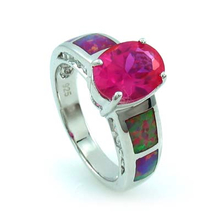 Pink Opal Silver Ring with Pink Sapphire