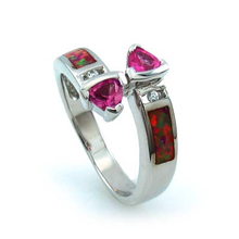 Two Stone Pink Sapphire Ring with Australian Opal