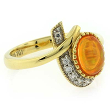 Unique Fire Jelly Opal Gold Plated Ring