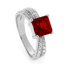 Fashion Sterling Silver Red Ruby Ring