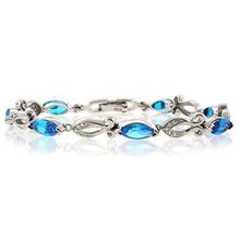 Marquise Cut Blue Topaz Platinum Quality Sterling Silver Bracelet
