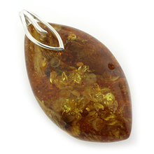 Genuine Baltic Amber Sterling Silver Pendant