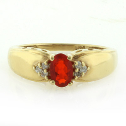 14k Solid Yellow Gold Mexican Fire Opal Diamond Ring