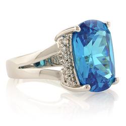 Huge Sterling Silver Blue Topaz Ring