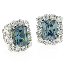 Square Cut Alexandrite Fashion .925 Silver Earrings