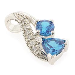 Double Stone Blue Topaz Silver Pendant