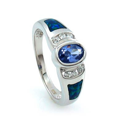 Opal with Tanzanite Silver Ring