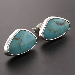 Triangular Turquoise Gemstone .925 Silver Studs