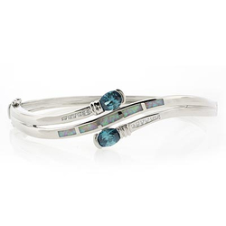 Double Alexandrite and White Opal Silver Bangle
