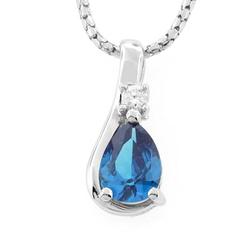 Silver Drop Blue Topaz Solitaire Pendant