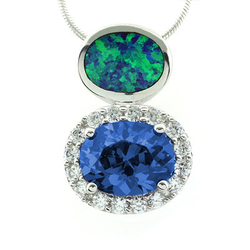 Blue Topaz with Blue Opal Silver Slide Pendant