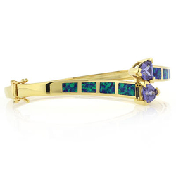 Blue Opal Bangle in 925 Sterling Silver with Tanzanite