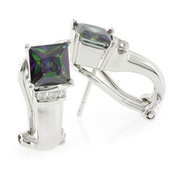 Princess Cut Mystic Topaz with Omega Closure .925 Silver Earrings