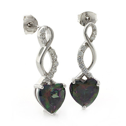 Heart Shape Smoked Topaz Silver Drop Earrings