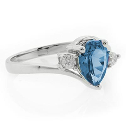 Solitaire Blue Topaz Sterling Silver Ring