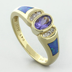 14k Solid Yellow Gold Australian Blue Opal Tanzanite Ring