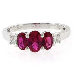 3 Oval Cut Stone Ruby Ring