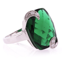 Emerald Ring Checkboard Cut Stone