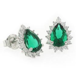 Emerald Pear Cut Framed Silver Earrings