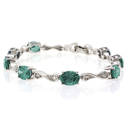 Alexandrite Silver Bracelet Oval Cut Stones Blue Green Color Change