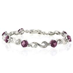 Alexandrite Silver Bracelet Round Cut Stones