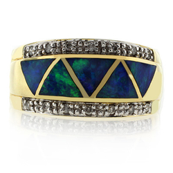 14k Yellow Solid Gold Opal Diamond Ring