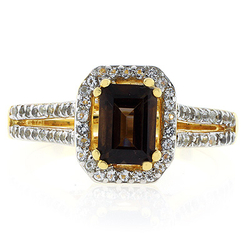 Five Stone Genuine Smoked Topaz Sterling Silver Ring