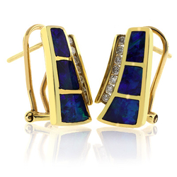 Genuine Australian Opal with Omega Closure 14K Gold and Diamond Earrings