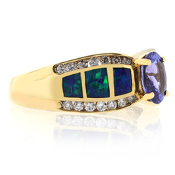 Solid Gold Black Opal Ring with Tanzanite
