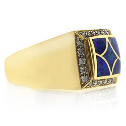 Blue Green Color Natural Opal Gold Ring