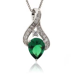 Silver Emerald Pendant Pear Cut Stone
