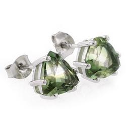 Trillion Cut Watermelon Tourmaline Silver Stud Earrings