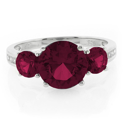 3 Round Cut Ruby Ring
